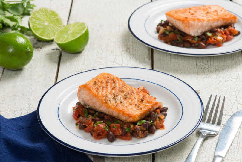 Salmon over Black Bean Stew