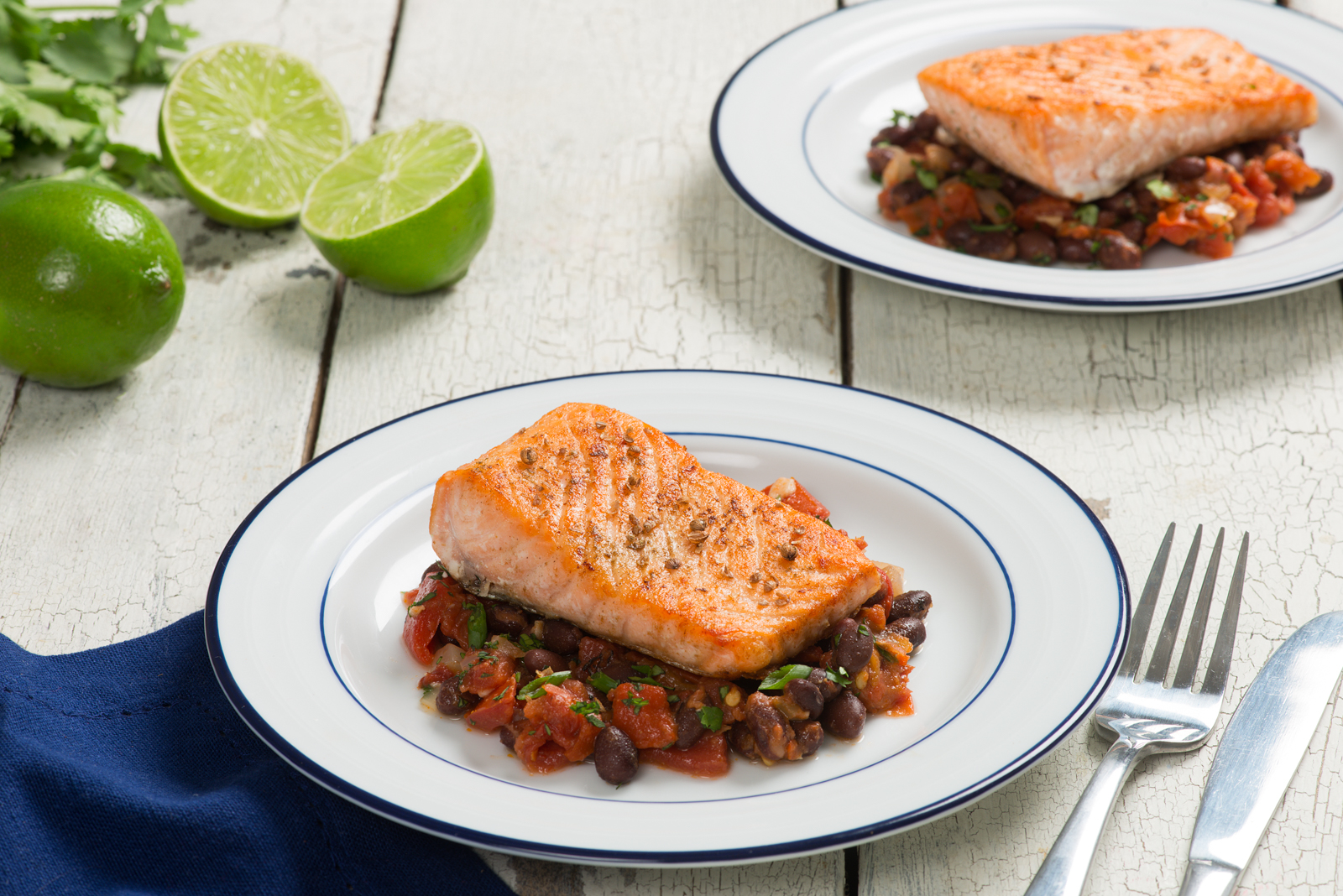 Cumin Scented Salmon with Black Bean Stew
