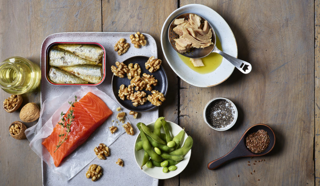 Good fats include omega-3 foods including salmon, tuna, sardines and walnuts