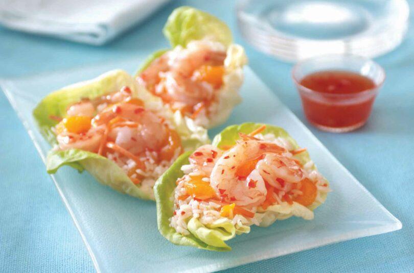 Mandarin Orange Rice and Shrimp Lettuce Wraps