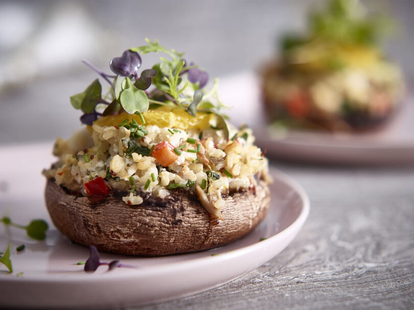 Crab and Rice Stuffed Portobellos