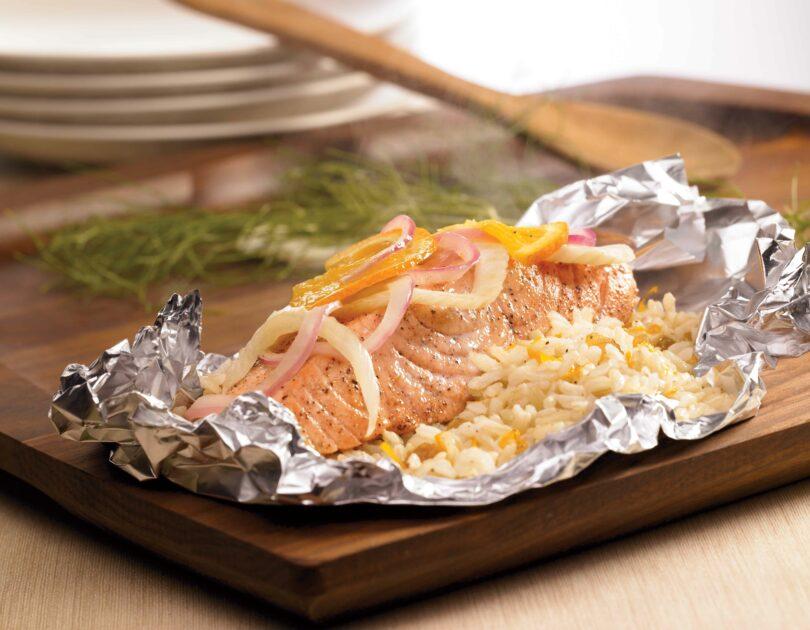 Salmon & Rice Packets with Fennel, Orange & Raisins
