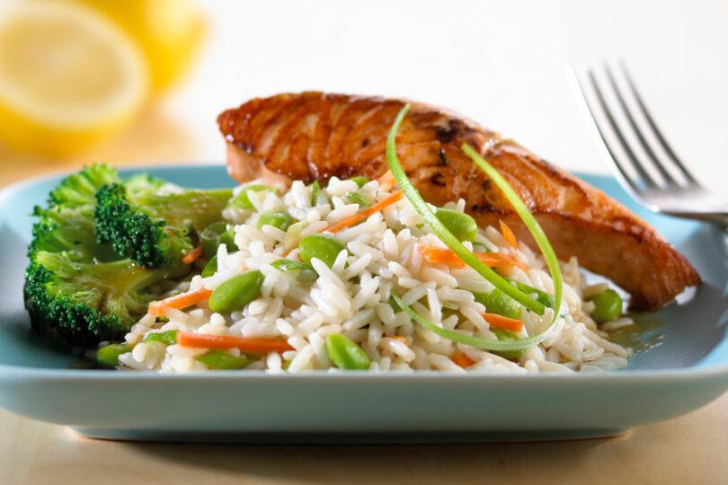 Teriyaki Salmon with Gingered Vegetable Rice