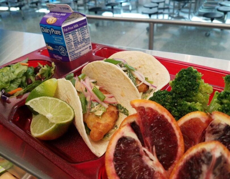 Wahoo taco at school lunch