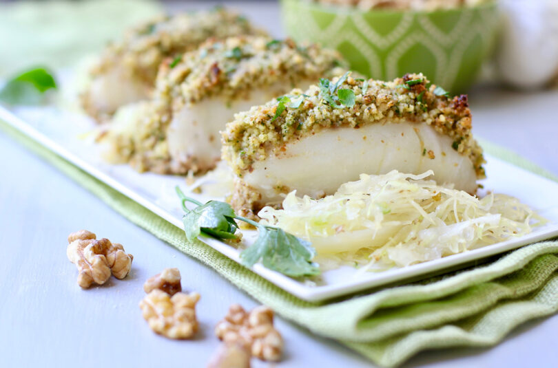 Crispy Walnut Cod with Walnut Tzatziki