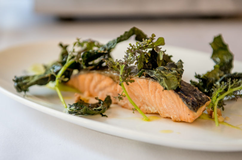 Salmon with Kale Chips & Avocado Vinaigrette