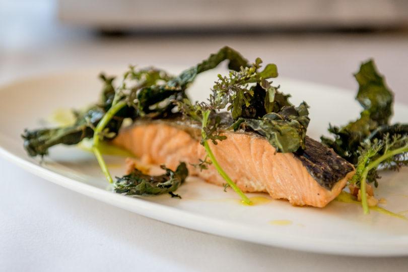 Salmon with Kale Chips & Avocado Vinaigrette