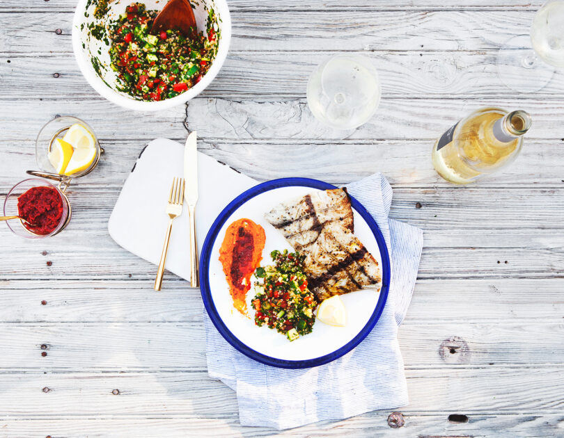 Cumin Grilled Barramundi with Harissa Spiced Hummus and Tabbouleh
