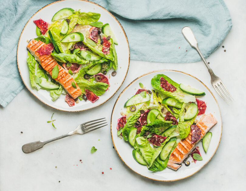 Slow Roasted Salmon with Minted Cucumbers