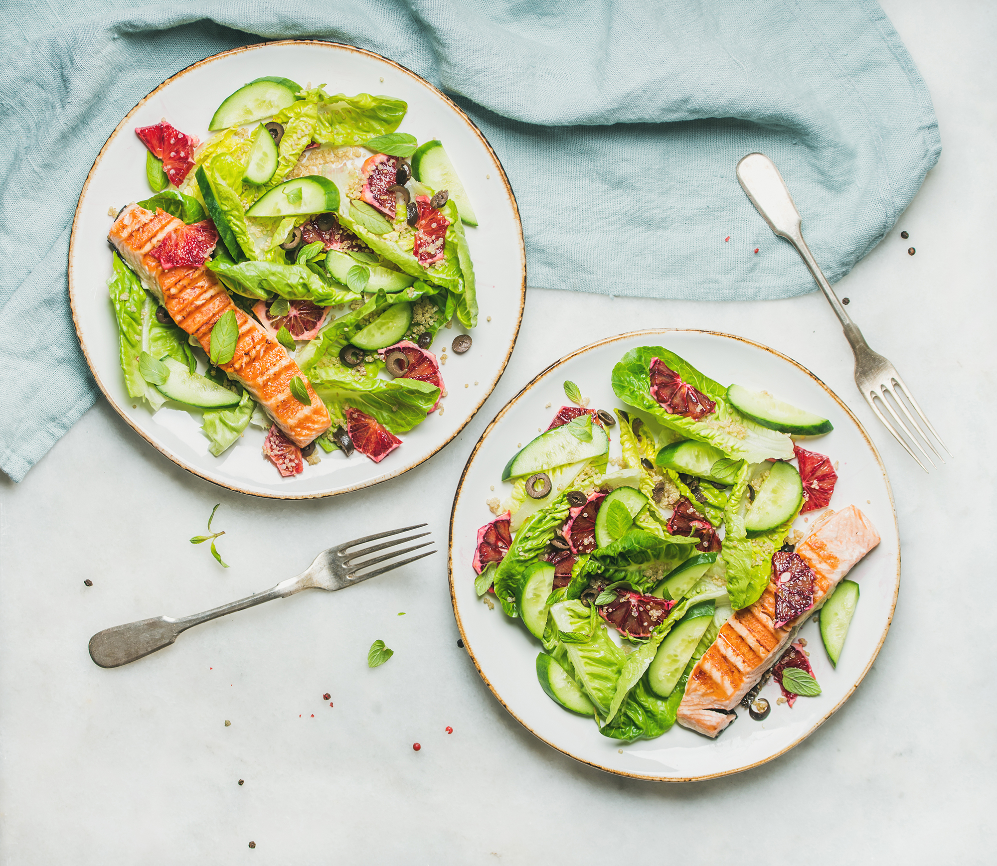 Slow Roasted Salmon with Minted Cucumber
