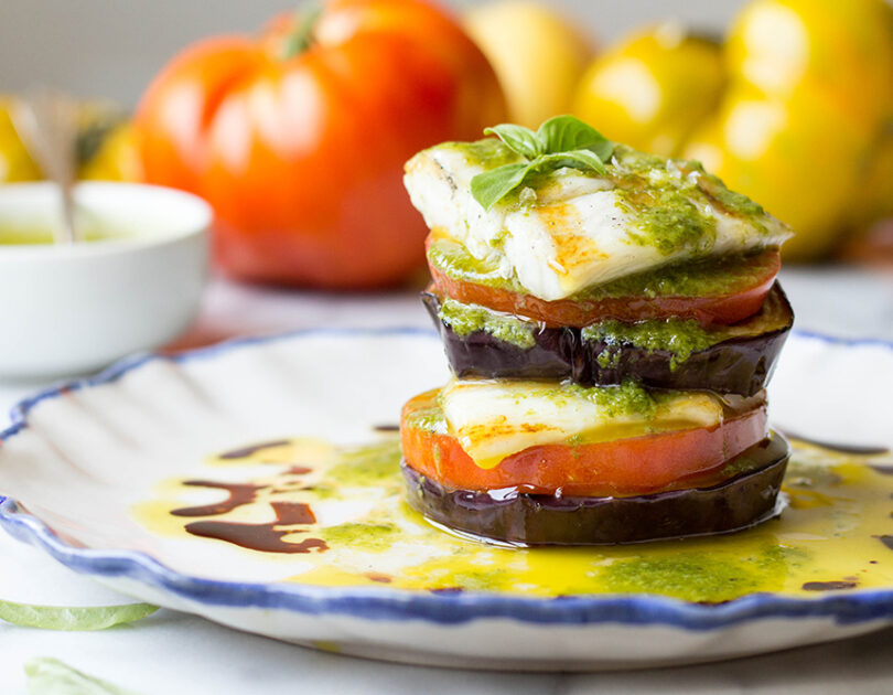 Grilled Barramundi with Eggplant and Tomato Stacks