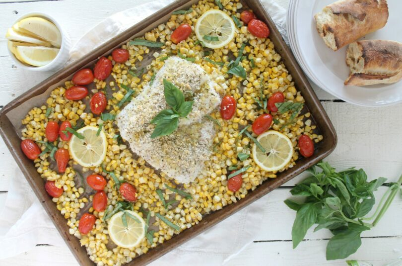 Sheet Pan Panko Crusted Cod with Summer Corn, Tomatoes and Basil