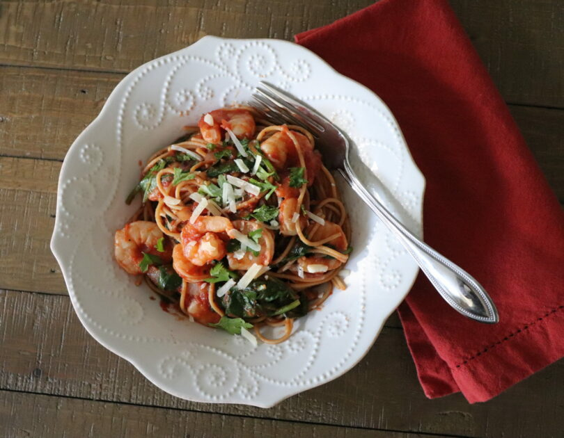 Weeknight Shrimp Spaghetti with Spinach