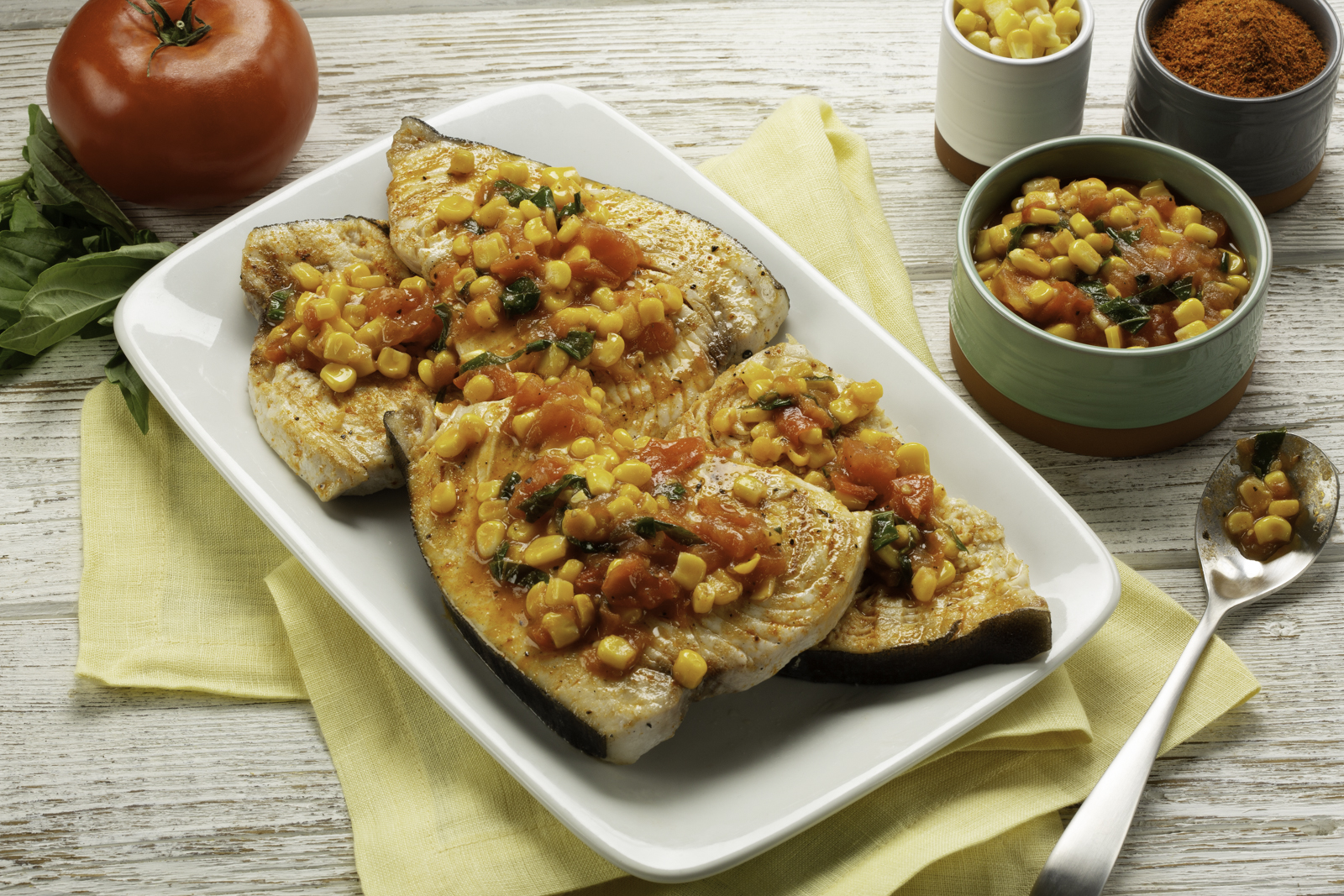 Blackened Swordfish with Fresh Corn and Tomato Relish