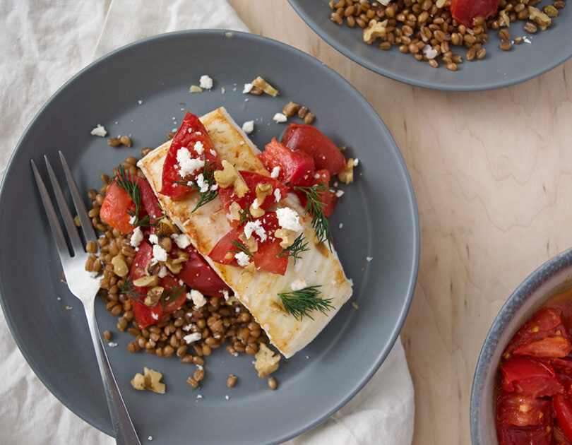 Grilled White Fish with Coriander-Buttered Tomatoes and Dill