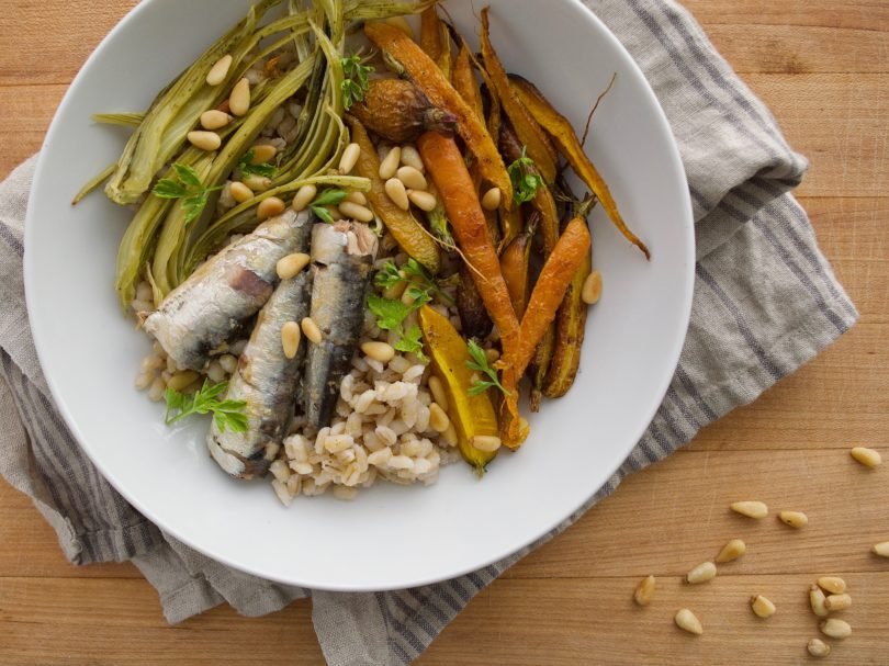 Sardine Grain Bowls with Roasted Fennel and Carrots