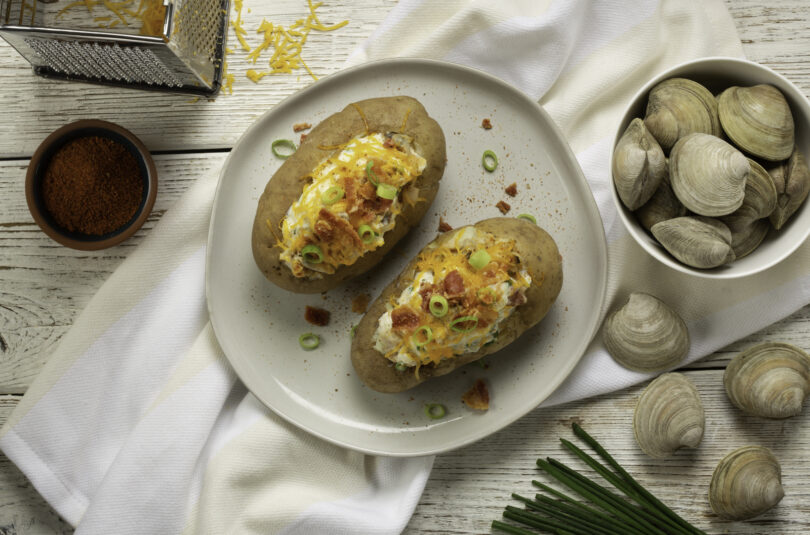 Loaded Baked Potato with Little Neck Clams