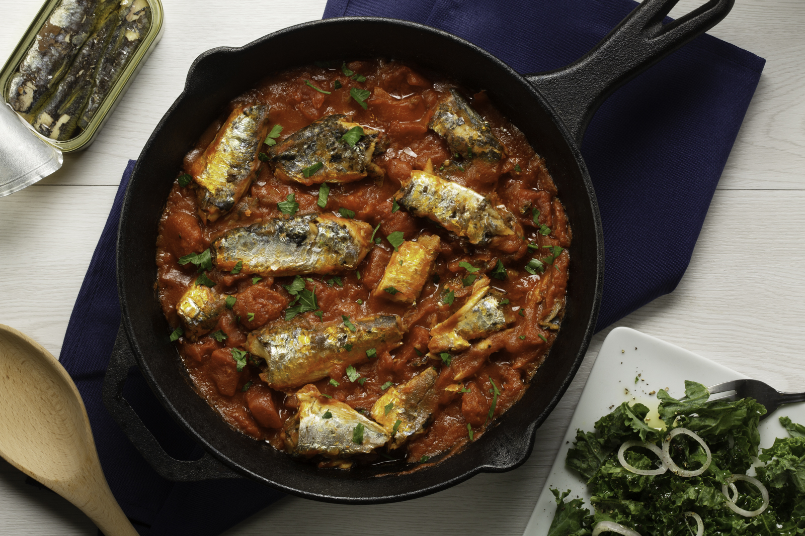 Sardines Simmered with Roma Tomatoes