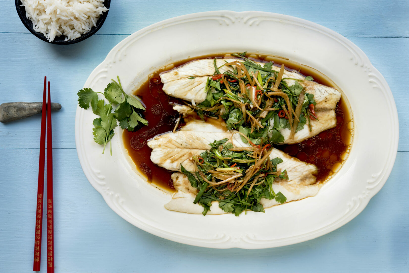 Steamed Barramundi with Ginger, Tamari, and Fresh Herbs