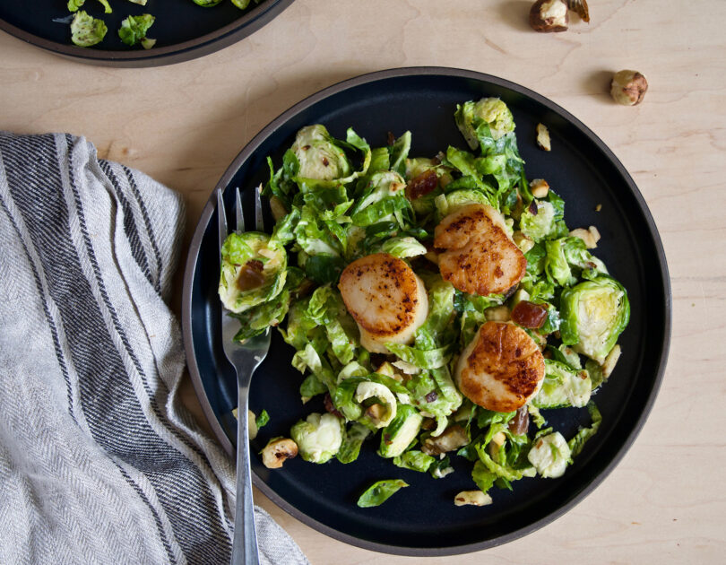 Seared Scallops with 5 Ingredient Shaved Brussels Sprout Salad