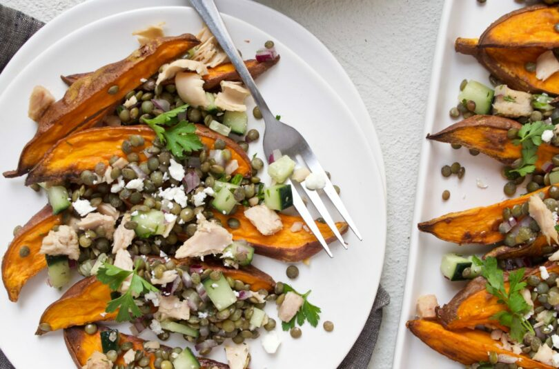 Lemony Lentil Salad with Tuna over Sweet Potato Wedges
