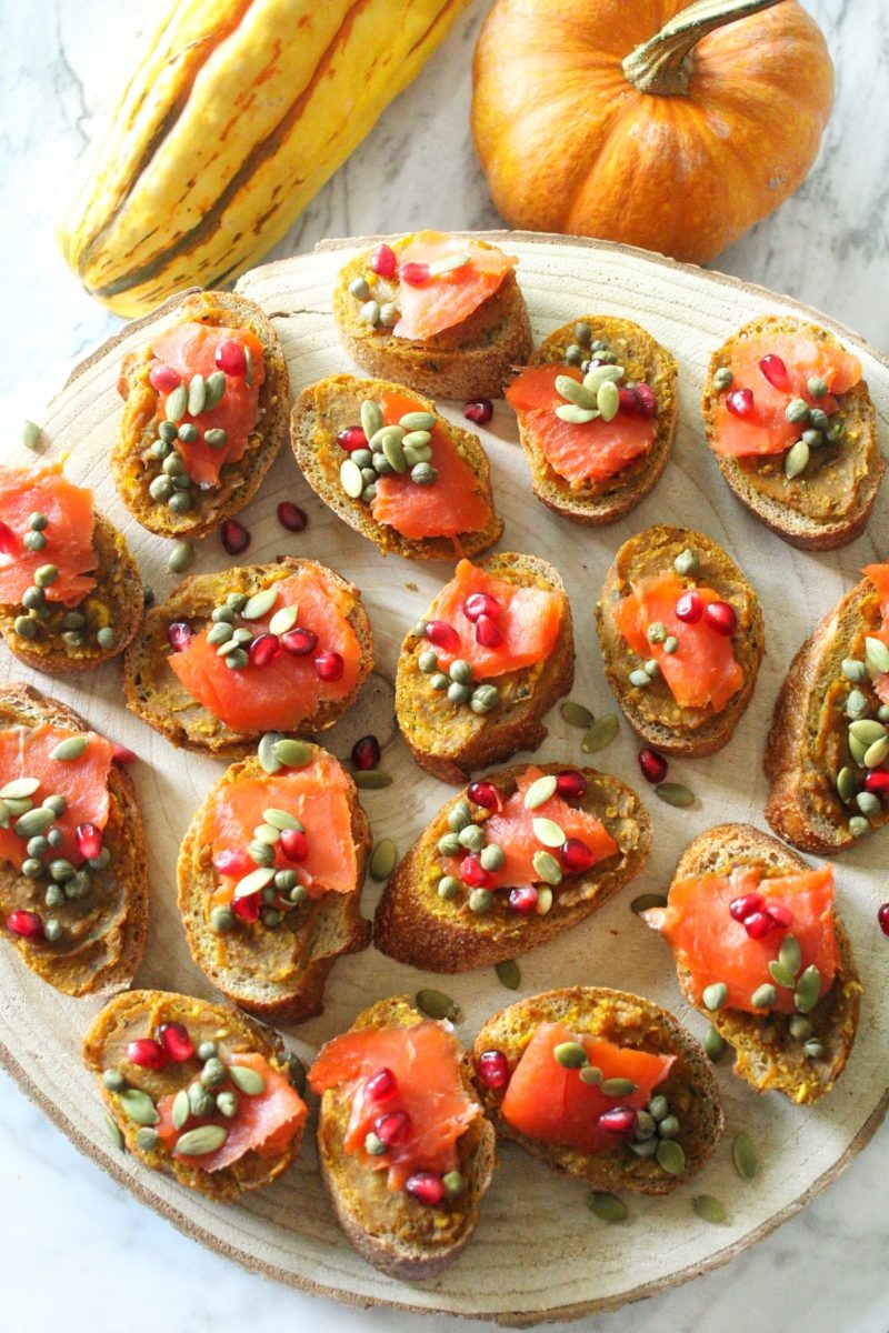 Smoked Salmon Crostini with Delicata Squash Butter