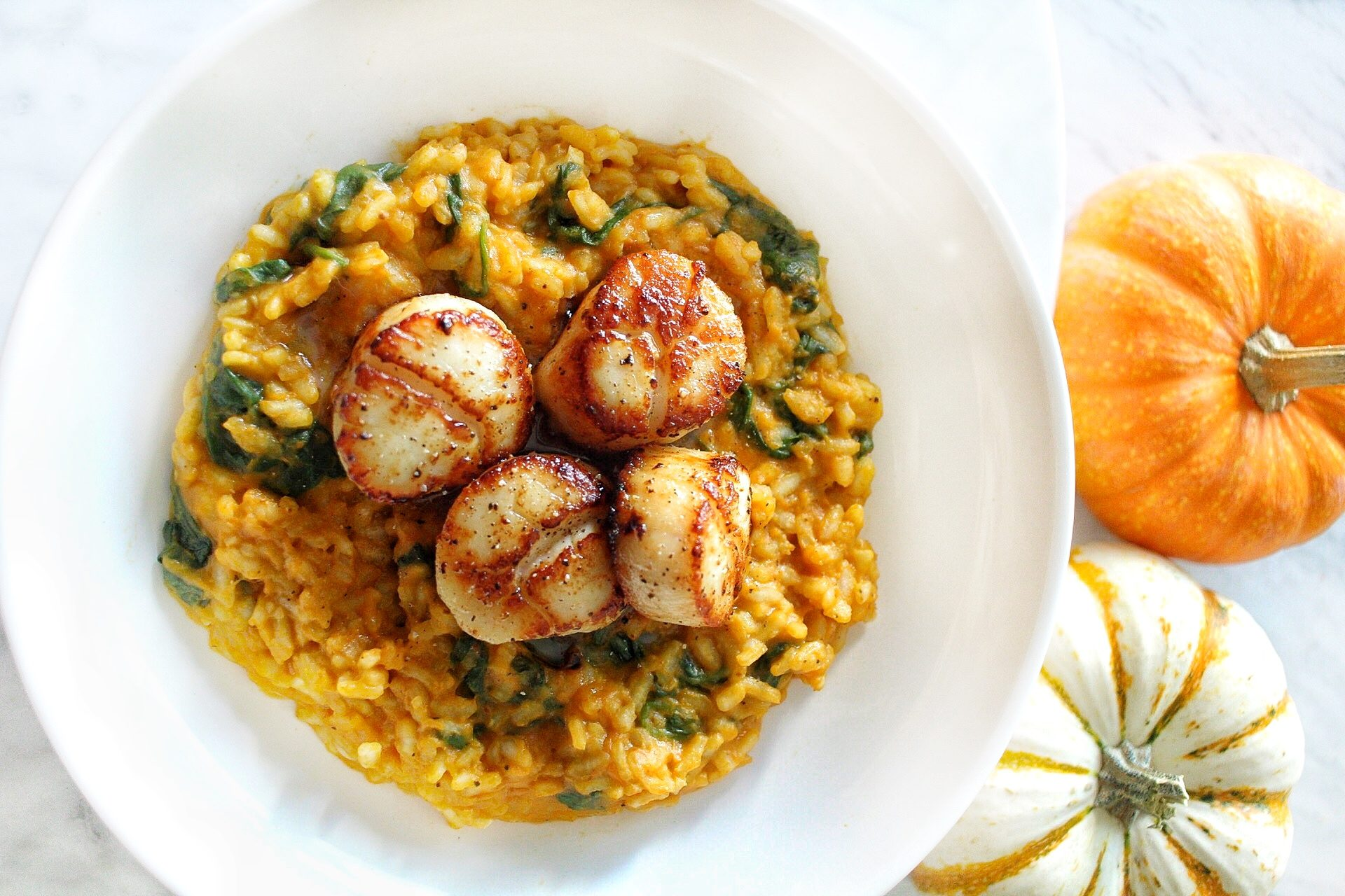 Pumpkin & Spinach Risotto with Scallops