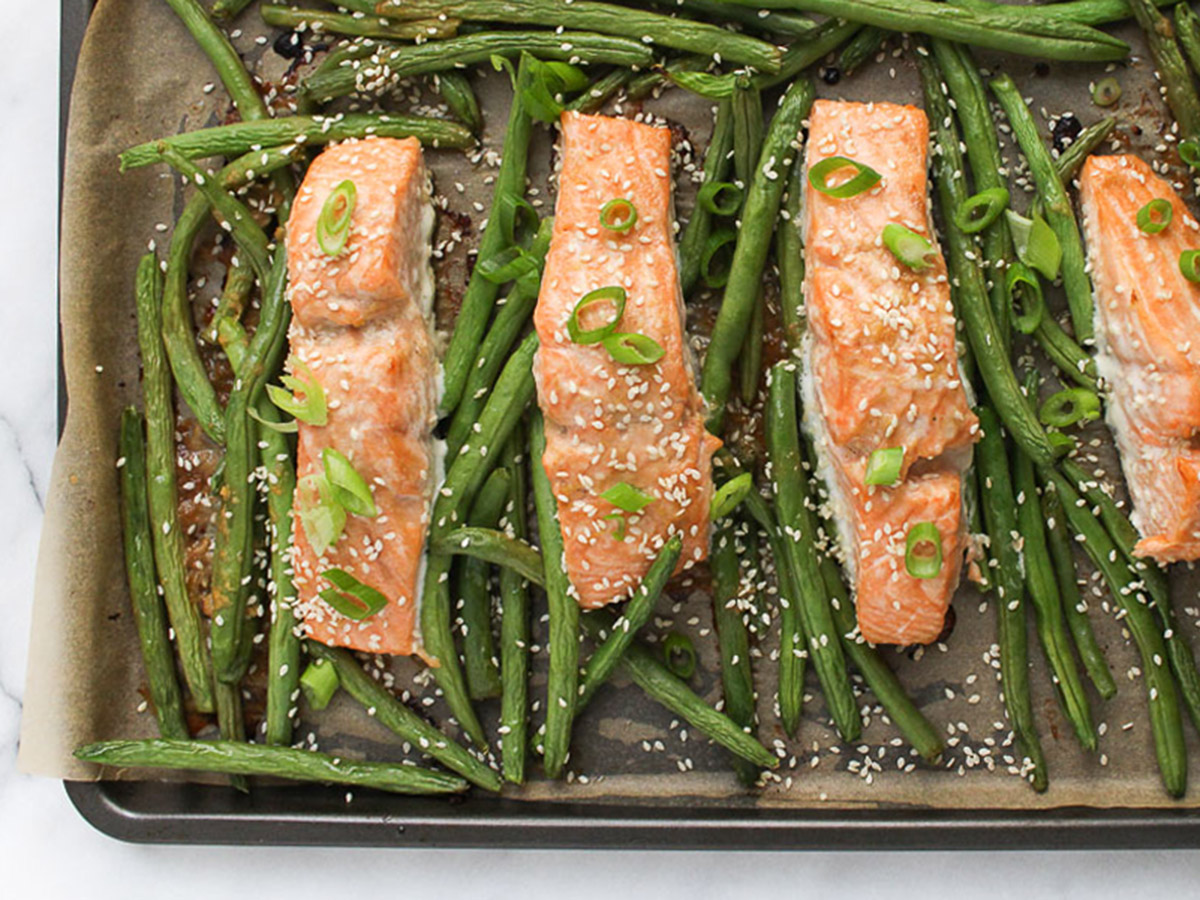 Chef Julie Harrington's Sheet Pan Salmon with Miso Glaze and Green Beans
