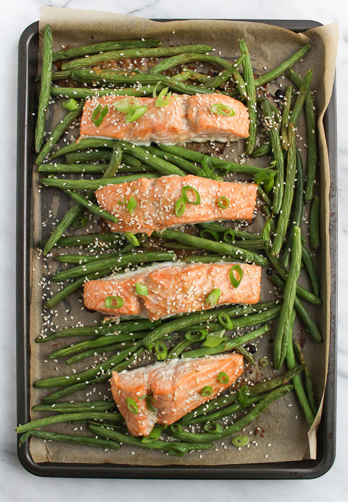 Sheet Pan Salmon with Miso Glaze and Green Beans