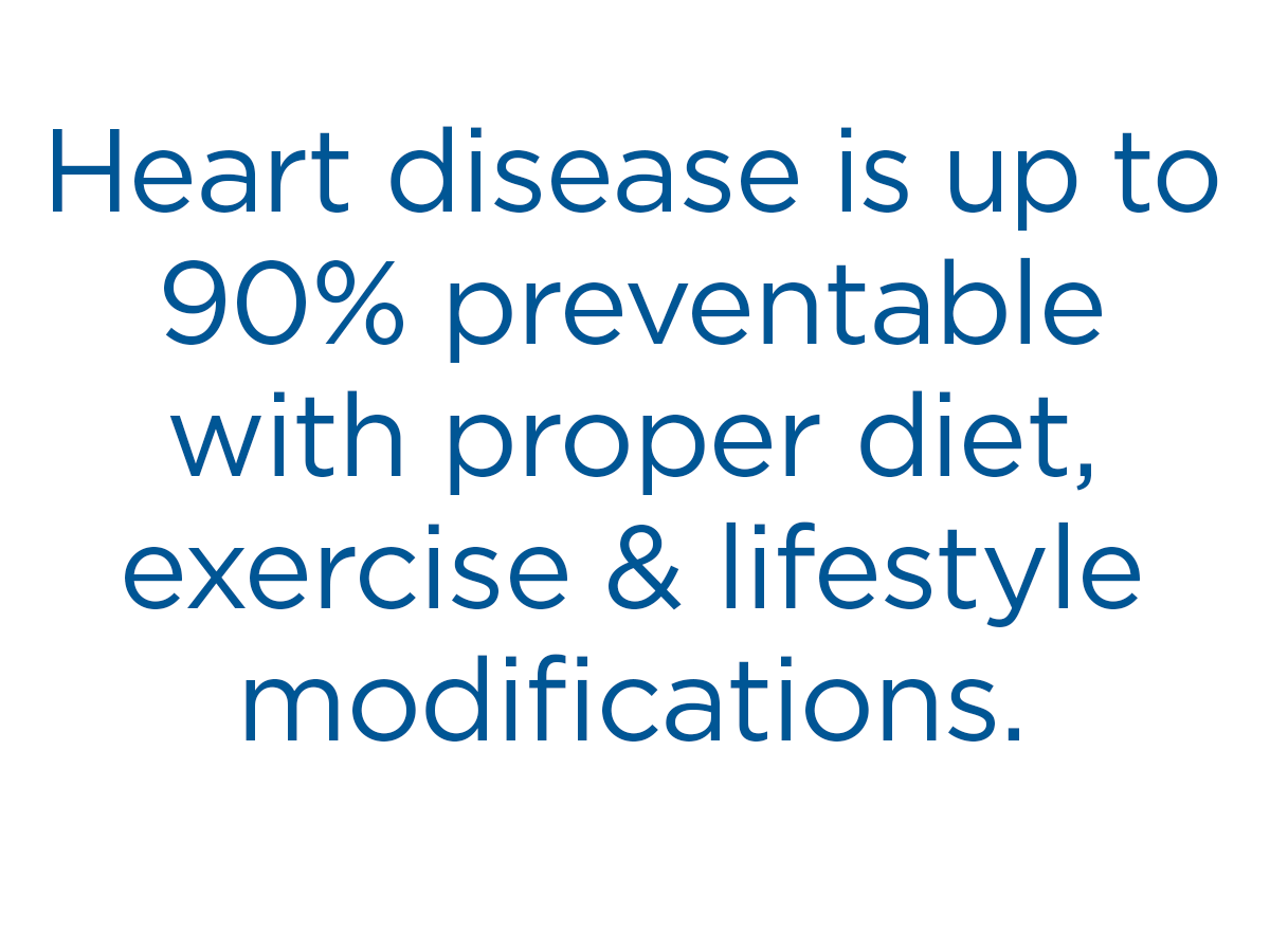 Heart disease is up to 90% preventable.