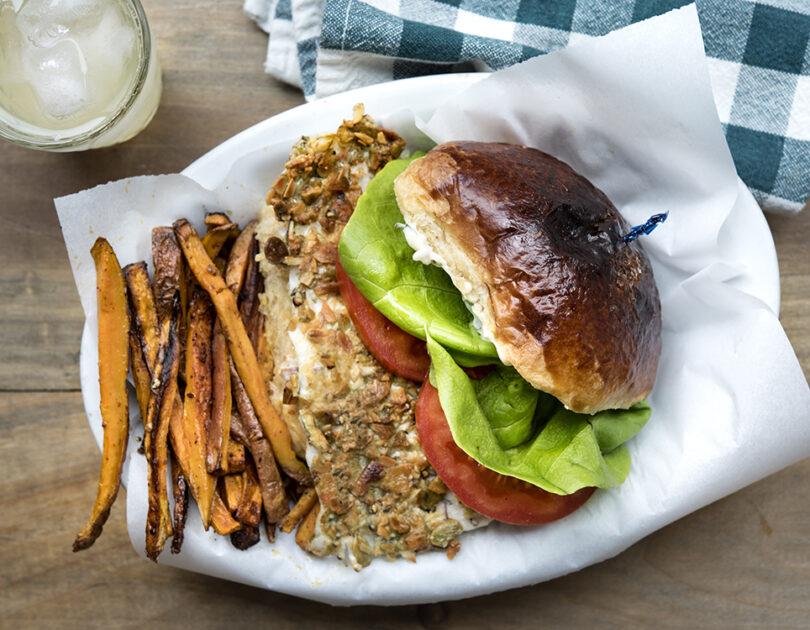 Pumpkin Seed-Encrusted Barramundi Sandwich