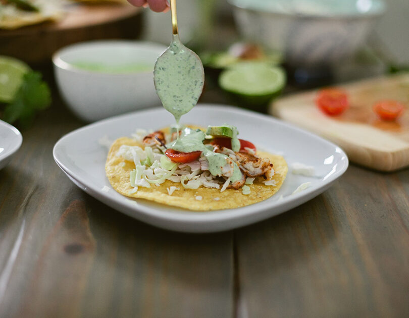 Blackened Barramundi Tostada with Cilantro Lime Crema
