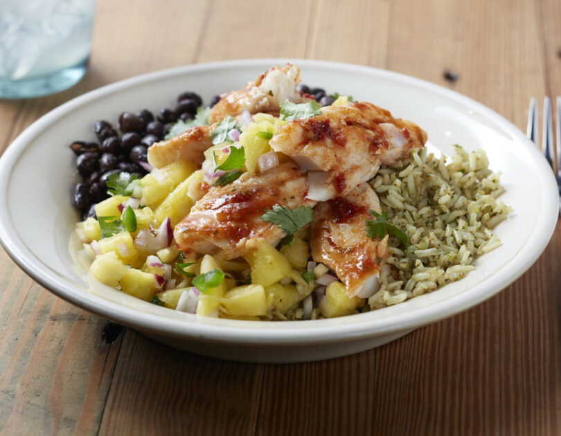 White Fish Burrito Bowl with Pineapple Salsa