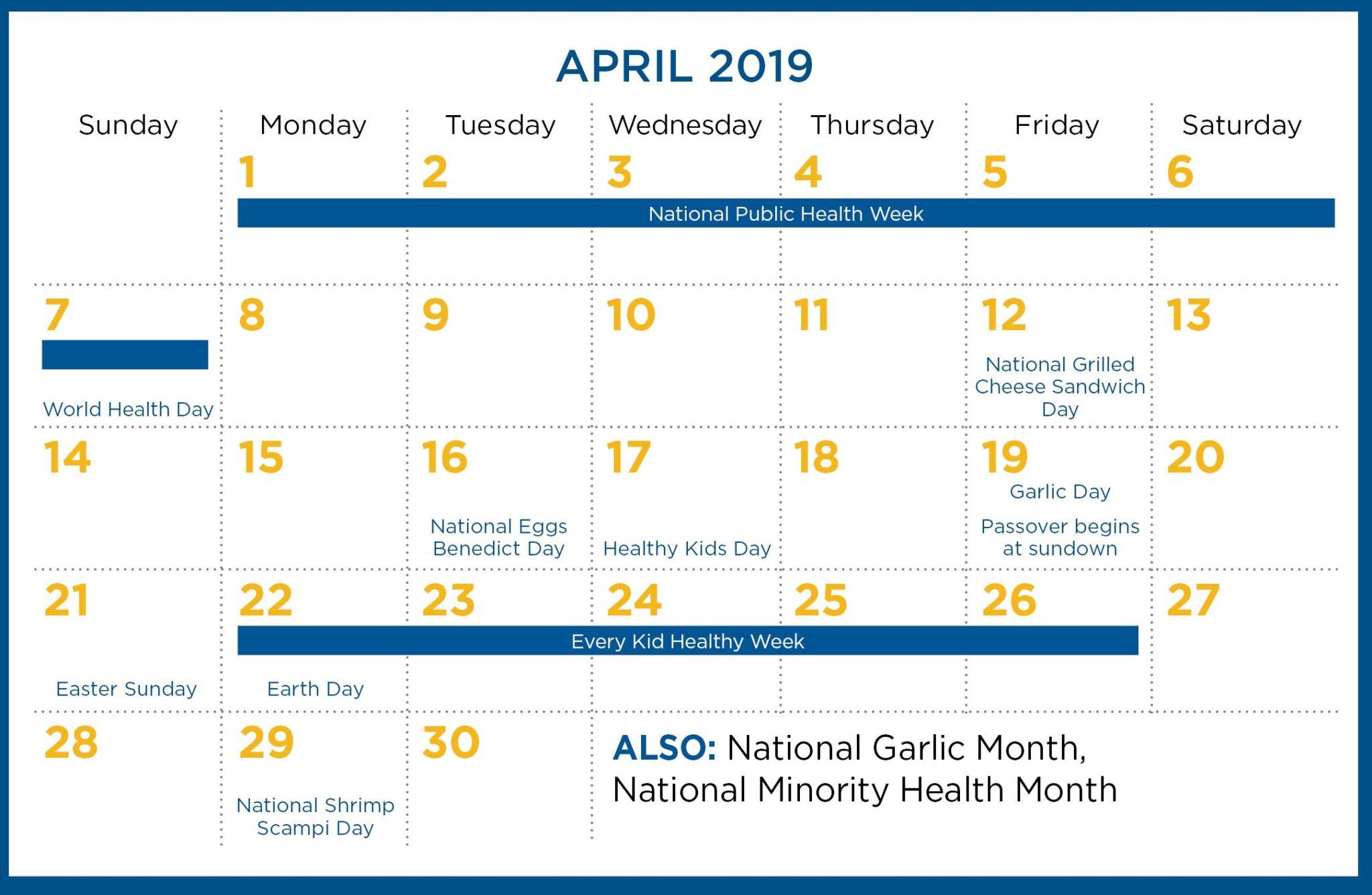 April 2019 calendar