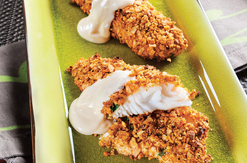 Pistachio & Tortilla Crusted Tilapia with Chili Lime Sauce