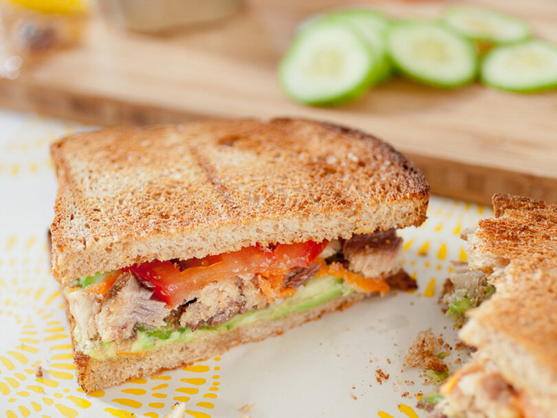 Avocado, Sardine and Veggie Sandwich