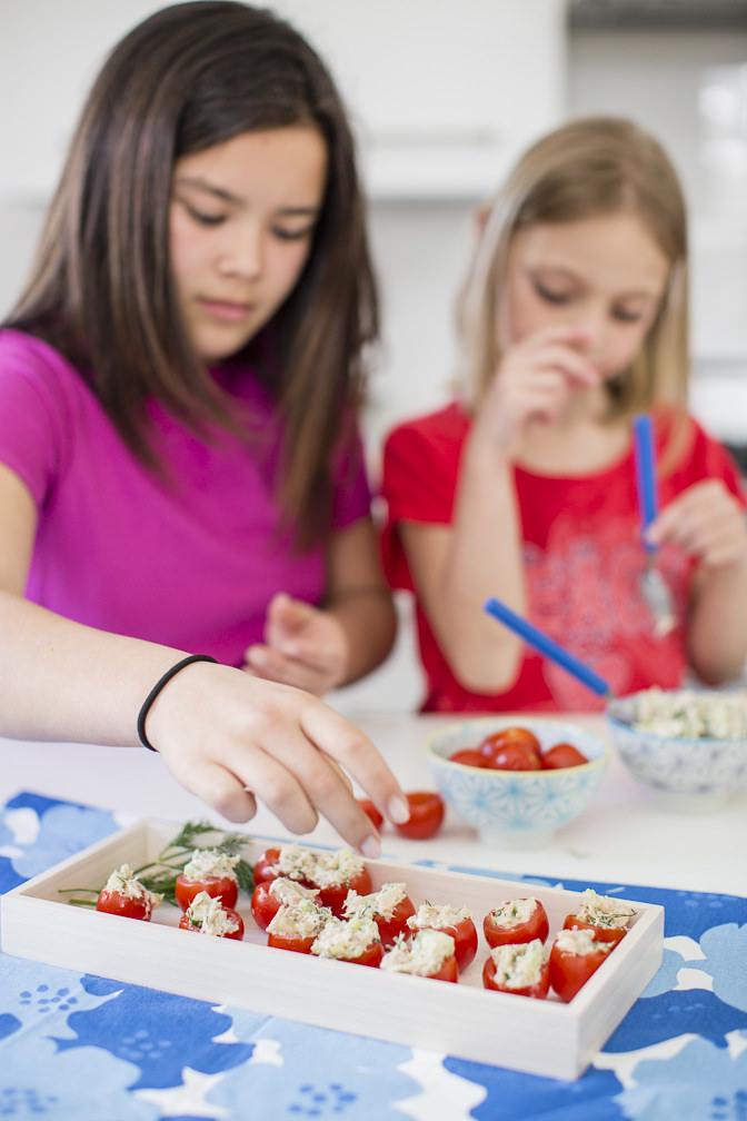 Kids making Summery Tuna Salad