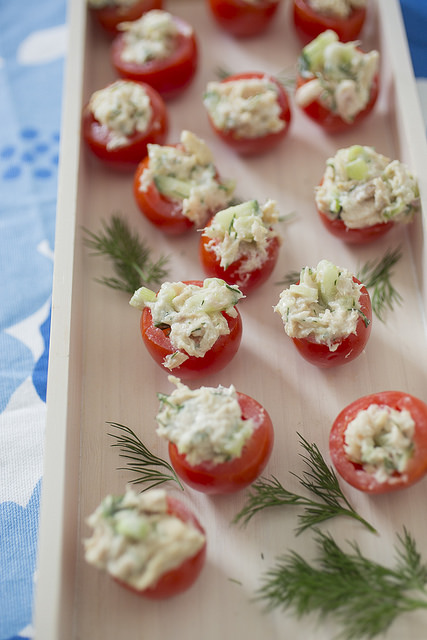 Summery Tuna Salad in cherry tomatoes