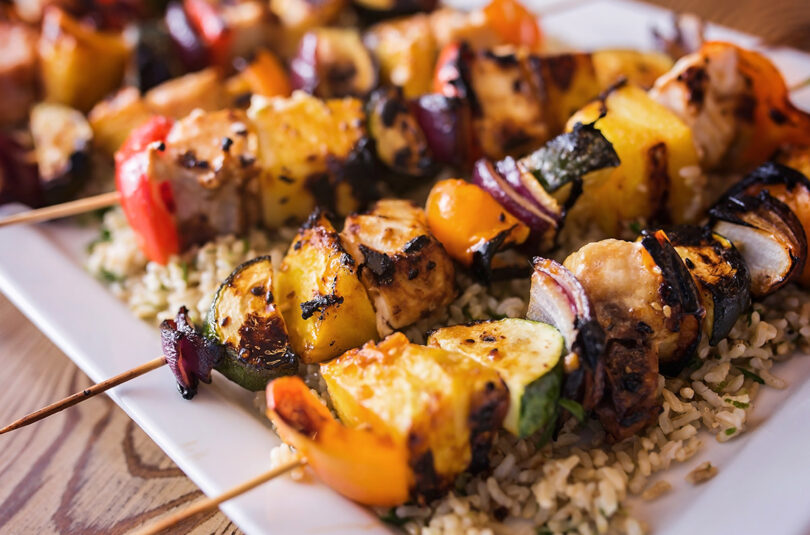 Fish Skewers with Cilantro Lime Rice