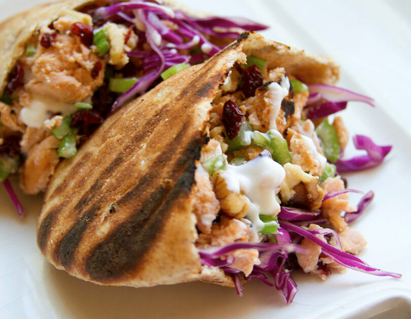 Alaskan Salmon Burger Stuffed Pitas