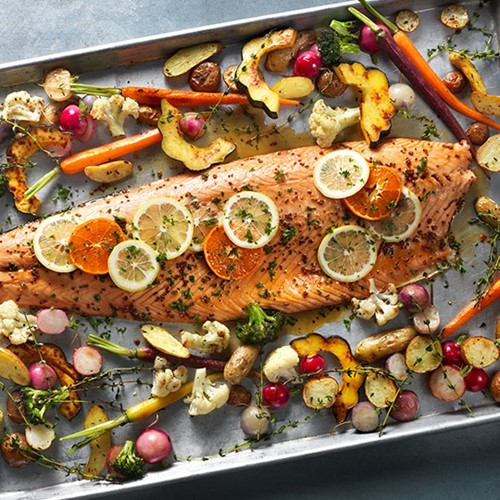 Maple Mustard Salmon With Roasted Vegetables