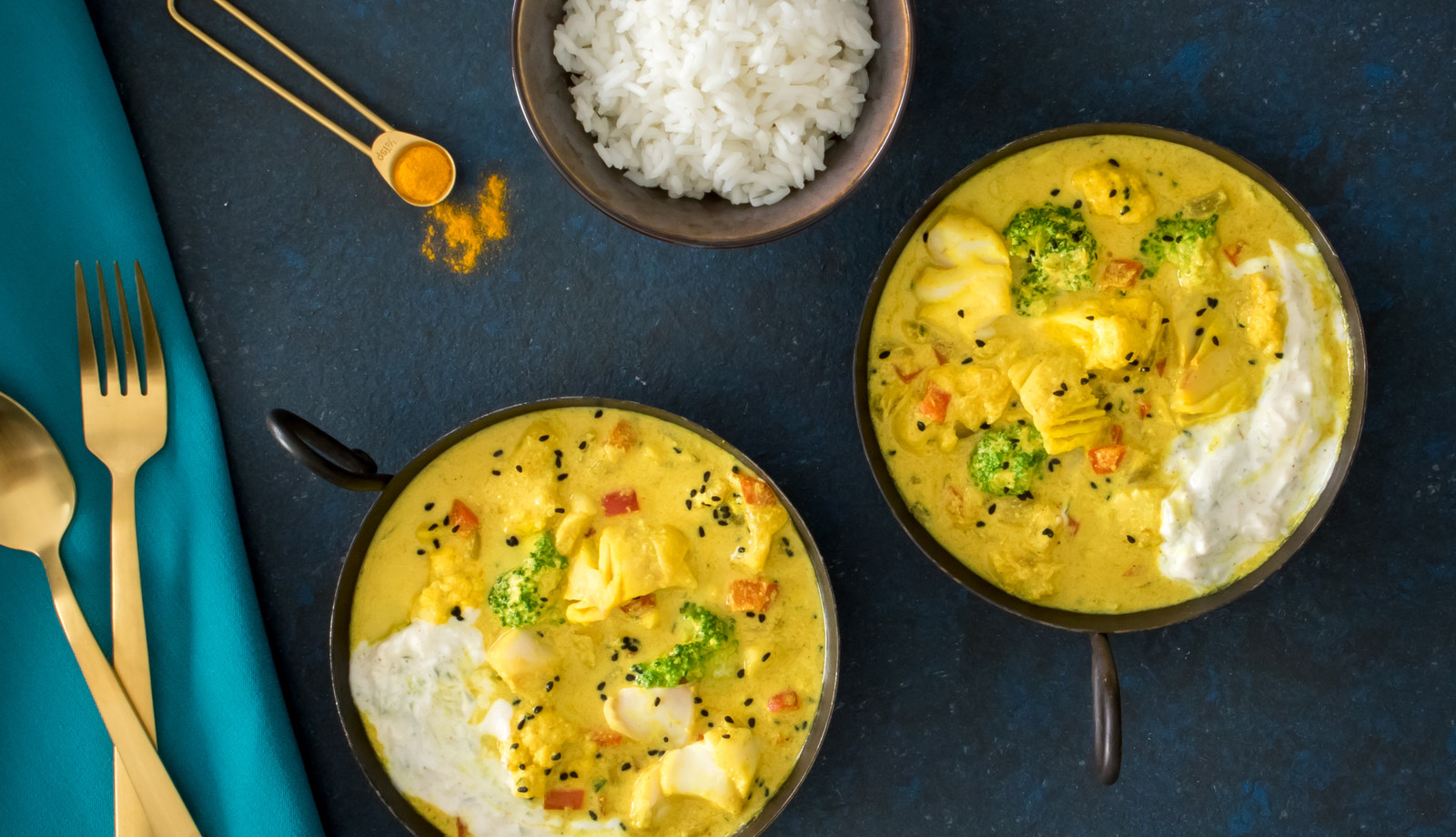 Wild Alaska Pollock Coconut Curry With Cucumber Yogurt Sauce