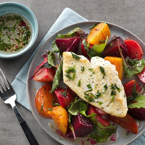 Pan-Seared Halibut and Roasted Beet Salad