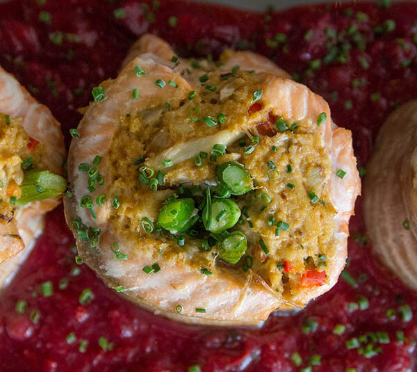 Crab Stuffed Salmon with Cranberry Glaze