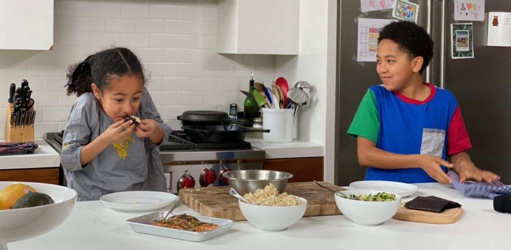 Dietitian Maya Feller's kids cook in the kitchen