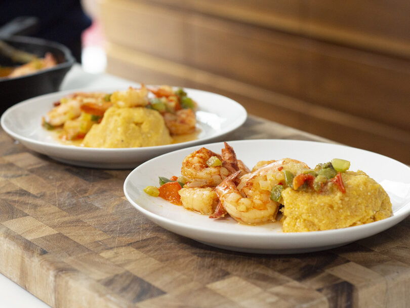 Smothered Shrimp Over Polenta
