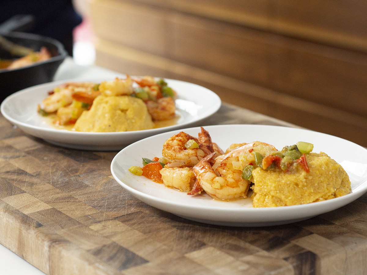 Smothered Shrimp over Polenta by Maya Feller for Seafood Nutrition Partnership