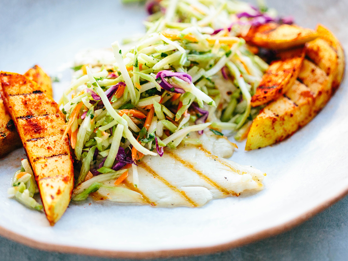 Tropical Grilled Barramundi with Crunchy Slaw