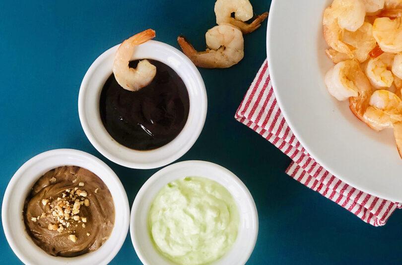 Sautéed Shrimp With Three Dipping Sauces