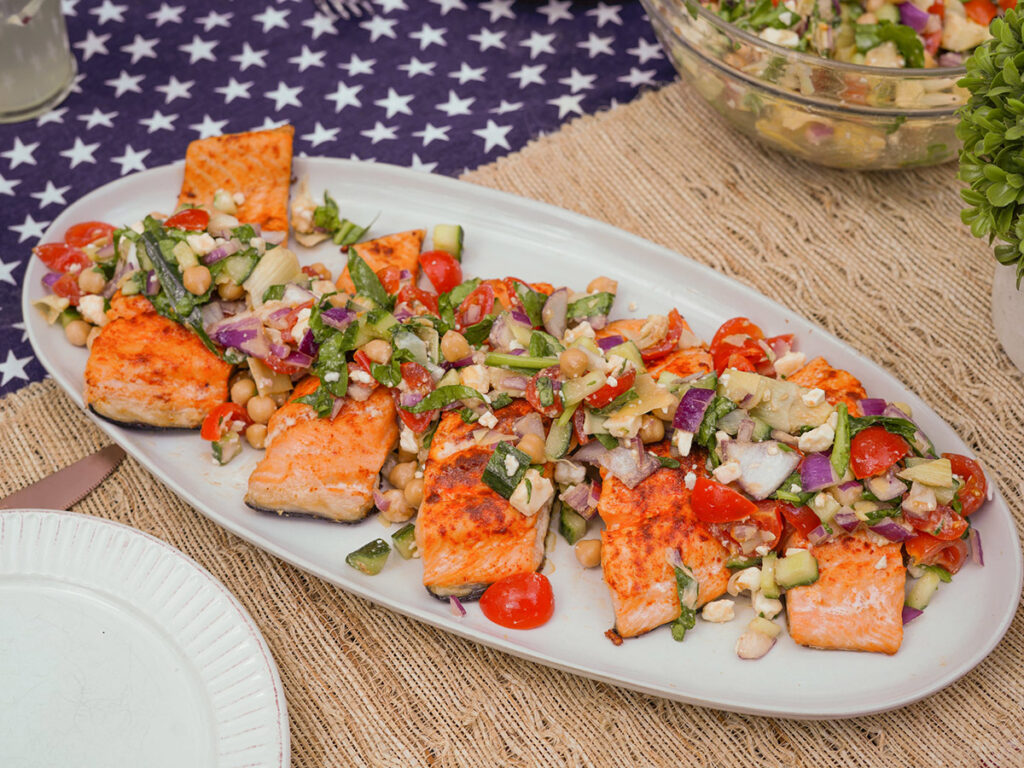 Seared Salmon with Mediterranean Salsa